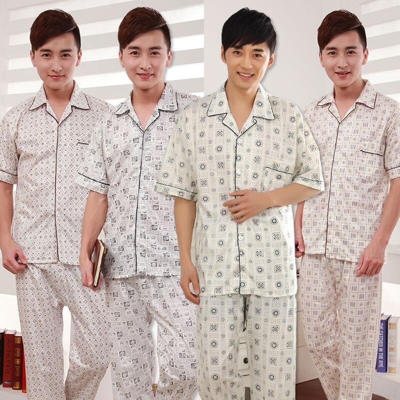 Male Pajamas Men Sleepwear Nightwear Flower-Sleep Casual Summer Print PJ 2PCS Suit Pant