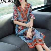 2019 ретро лето 100% шелк бохо платье для женщин Цветочный винтаж элегантное пляжное длинные платья корейский Vestido Mujer KJ1826