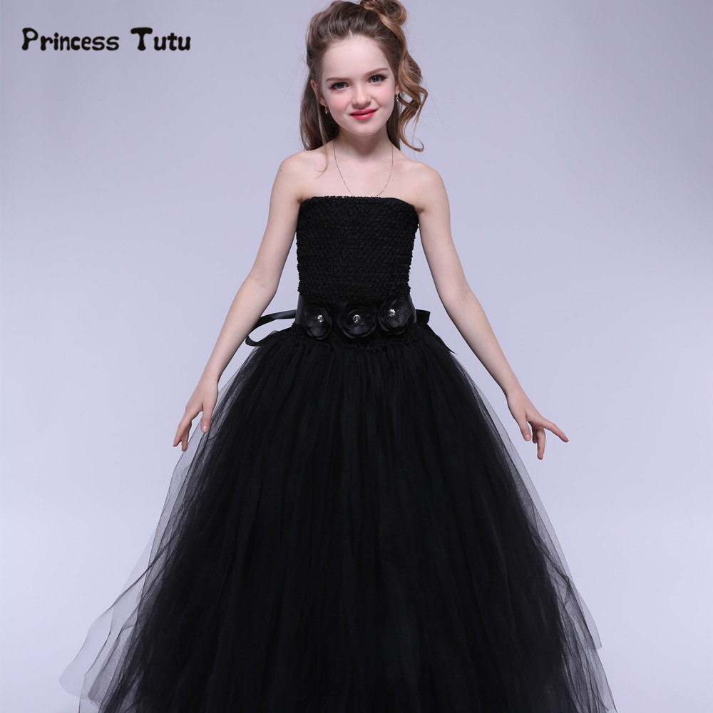 Newest Tulle Girls Dress Black Baby Kids Tutu Dress Princess Party Ball Gown Children Pageant Birthday Dresses Halloween Costume girls party tutu dress baby princess ball gown costume tulle children dress for kids pageant prom wedding flower girl dresses