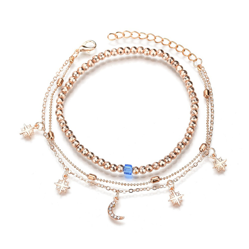ZORCVENS 2020 Boho Style Star Moon Anklet Fashion Multilayer Foot Chain New Ankle Bracelet for Women Beach Accessories Gift 1