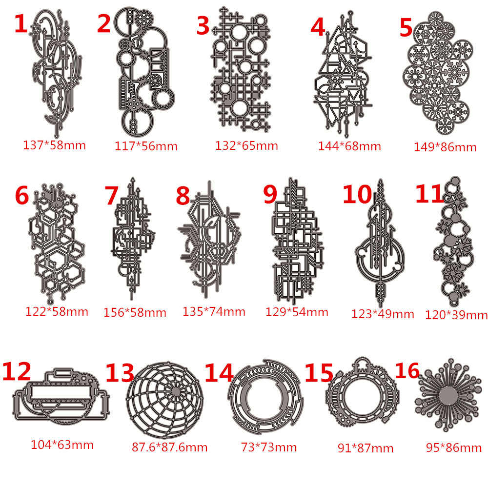 16PCS Metal Cutting Dies Scrapbooking Stencil  Irregular Network DIY Paper Card Decorative Embossing Die Cut Craft Dies New 2019