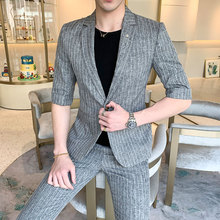 MarKyi 2019 summer half sleeve wedding suits for men good quality one button man suit slim fit (jacket and pant)