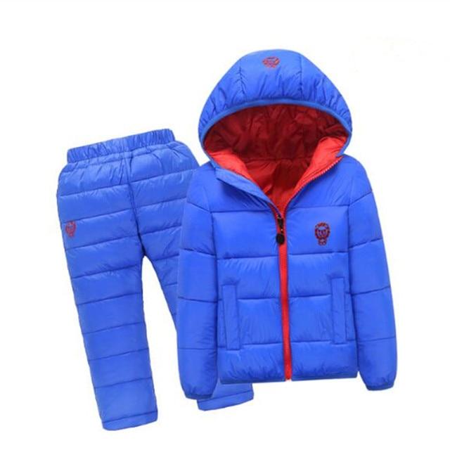 13bfa51fd Crianças Definir Meninos meninas conjuntos de Roupas de inverno 1-7year  casaco com capuz Para