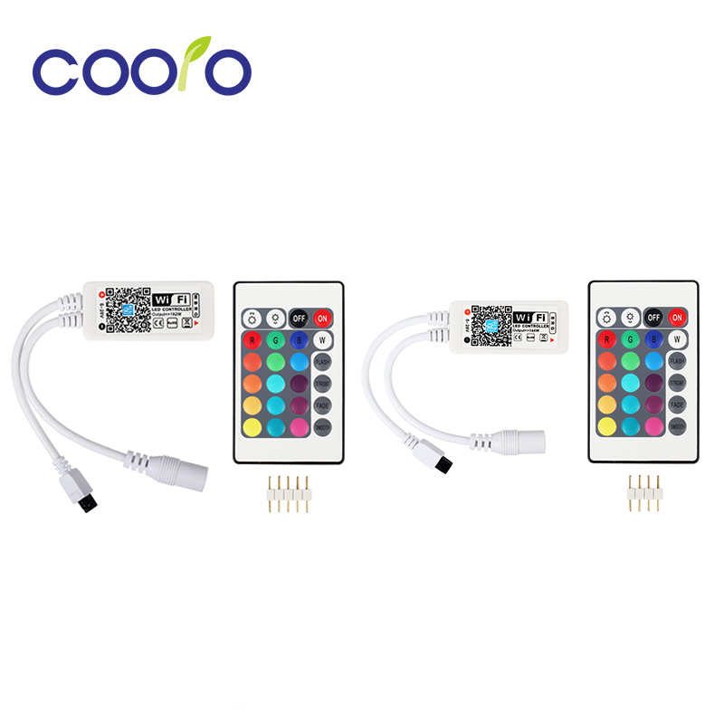 цена DC12V LED WIFI RGB / RGBW Controller with 24key remote IOS/Android Mobile Phone wireless for RGB / RGBW LED Strip