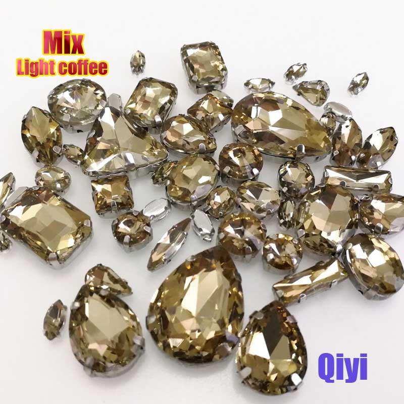 Vendre à perte! 50 pcs/sac de haute qualité forme mixte d'or jaune en verre coudre sur griffe strass, bricolage vêtements accessoires SWM013