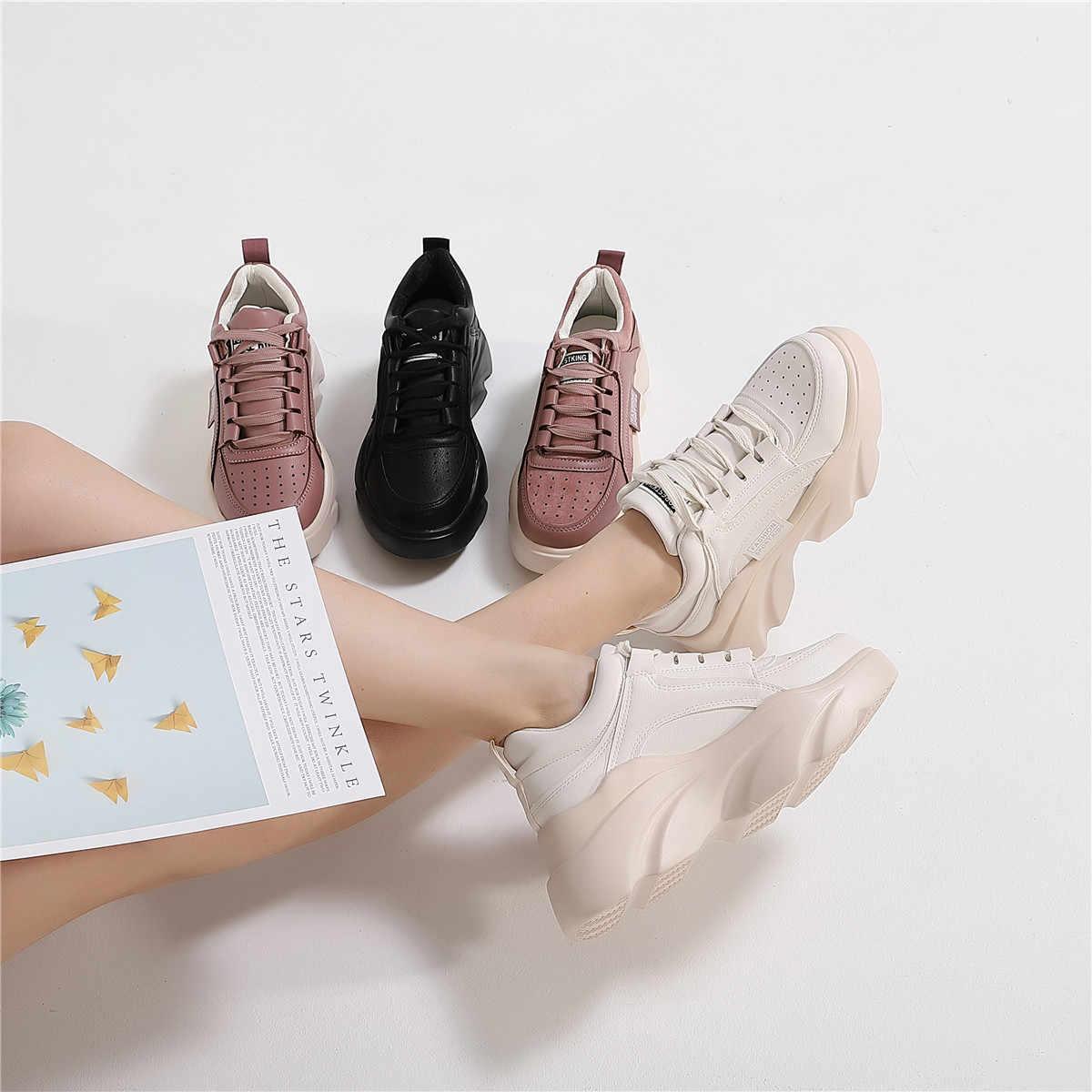 CAILASTE/2019; женские кроссовки на платформе; обувь на высоком каблуке с круглым носком; повседневная обувь на шнуровке; женская Ультралегкая обувь в стиле Харадзюку