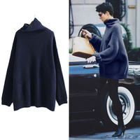 Europe And America High Collar Pullover Knitwear Loose Plus Size Sweater Coat Lady All Matched Retro
