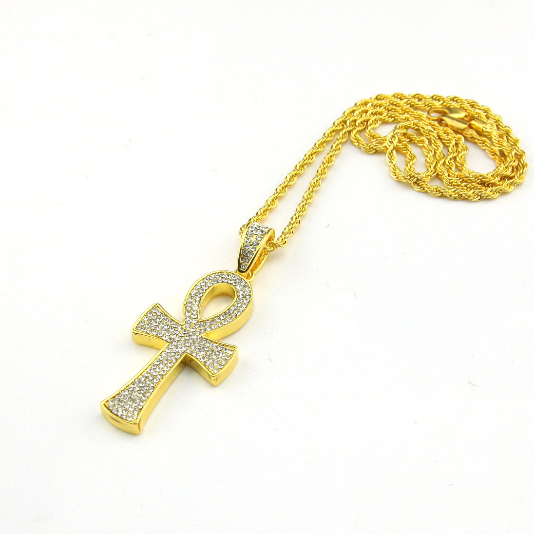 Mens golden egyptian ankh pendant hip hop 24 rope chain in pendants mens golden egyptian ankh pendant hip hop 24 rope chain in pendants from jewelry accessories on aliexpress alibaba group mozeypictures Image collections