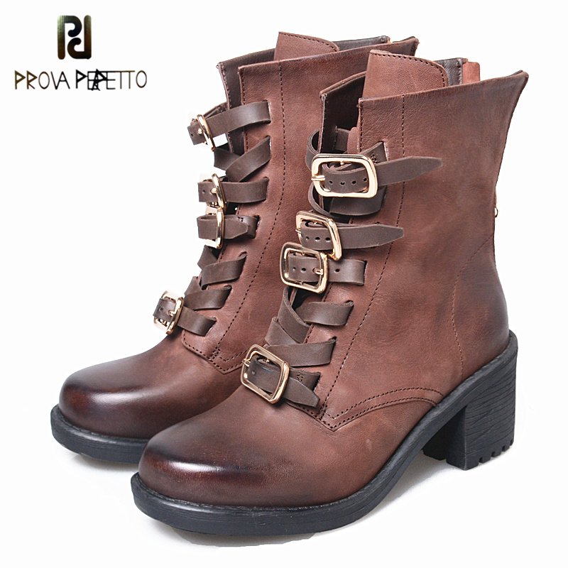 Prova Perfetto New Fashion Buckle Strap Mid-Calf Square High Heels Boots Leather Do Old Zip Comfort Round Toe Women Botas new arrival superstar genuine leather chelsea boots women round toe solid thick heel runway model nude zipper mid calf boots l63