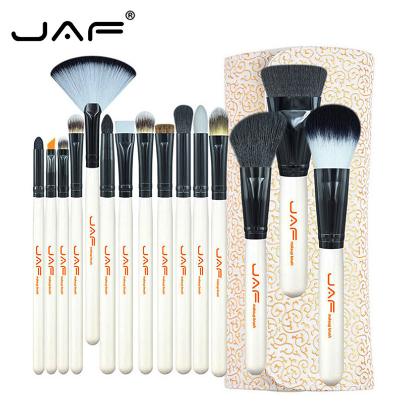 цена на JAF Beauty Makeup Tool Set 15 Pcs/Set Makeup Brushes Powder Foundation Eyeshadow Brush Synthetic Hair Makeup Brush Cosmetic Kits