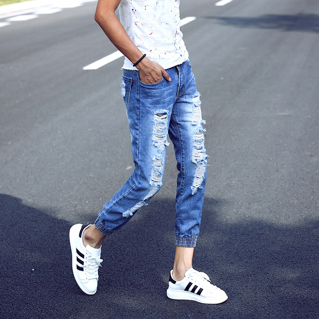 aa439714d9c 2016 Brand Men Jeans Joggers Pants Summer Casual Light Blue Mens Slim  Ripped Jeans Homme Fashion