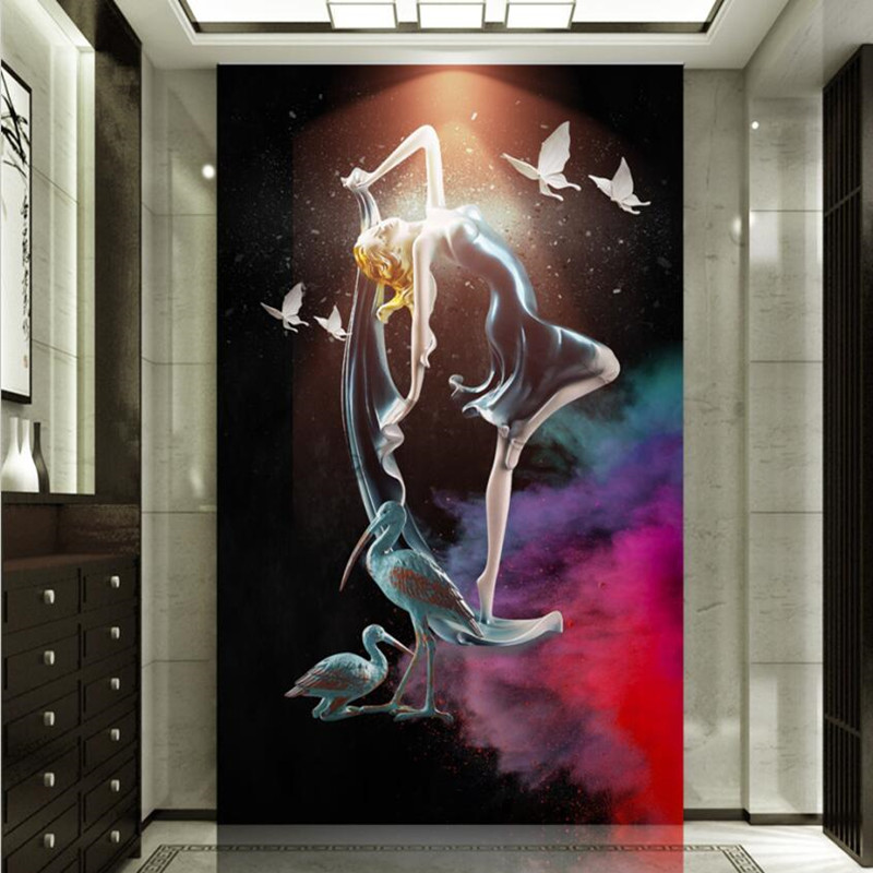 3D Photo Wallpaper Murals Modern Abstract Dance Girl 3D Embossed Painting Living Room Entrance Hallway Background Wall Decor shinehome black white cartoon car frames photo wallpaper 3d for kids room roll livingroom background murals rolls wall paper