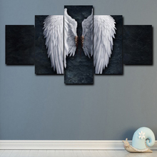 White Feather Wall Art Canvas Painting 5 Panel Angel Wing Posters Pictures For Living Room Bedroom Decoration Home Decor