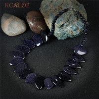KCALOE Choker Necklace 2017 New Natural Big Blue Sand Stone Vintage Accessories Handmade Necklaces Women Maxi