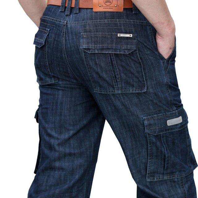 bbcbf78788d Vomint 2019 Jeans para hombre Mens de carga pantalones de mezclilla Regular  Loose Multi bolsillos clásico
