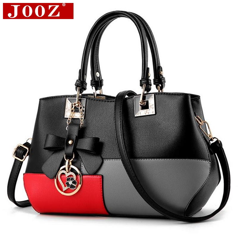 JOOZ Fashion patchwork designer women messenger bag leather women handbag brand ladies shoulder bags female bow bag