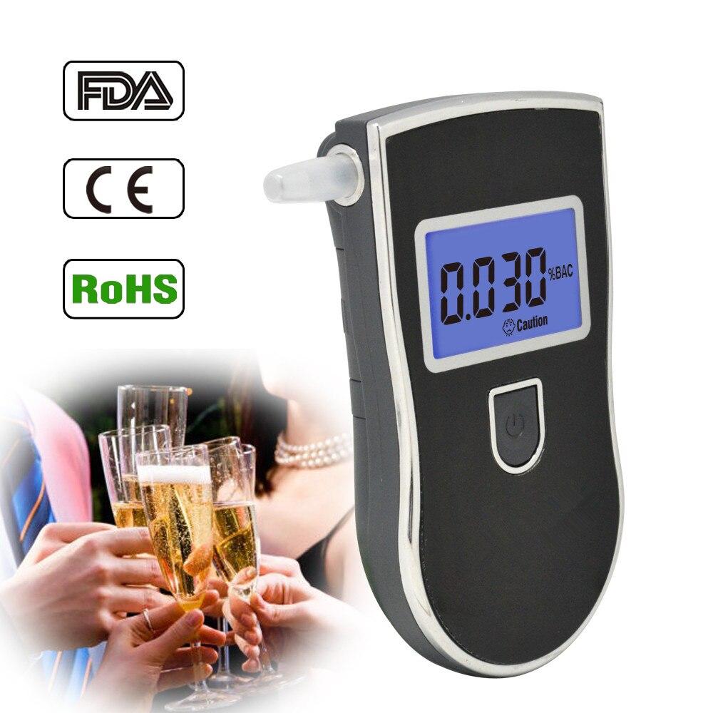 Nueva venta caliente de policía profesional probador Digital de Alcohol de respiración alcoholímetro AT818 Respirable aliento etanol prueba analizador