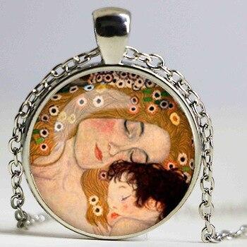 2015 nueva moda de collar de cúpula Gustav Klimt collar Klimt madre y el colgante para niño imagen artística de cristal collar