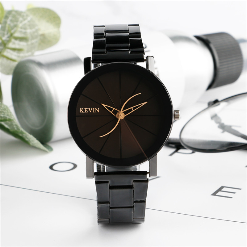 KEVIN Casual Men Women Watch Cool Wavy Pointers Minimalist Full Steel Quartz Wristwatches Creative Convex Face All-match Clocks