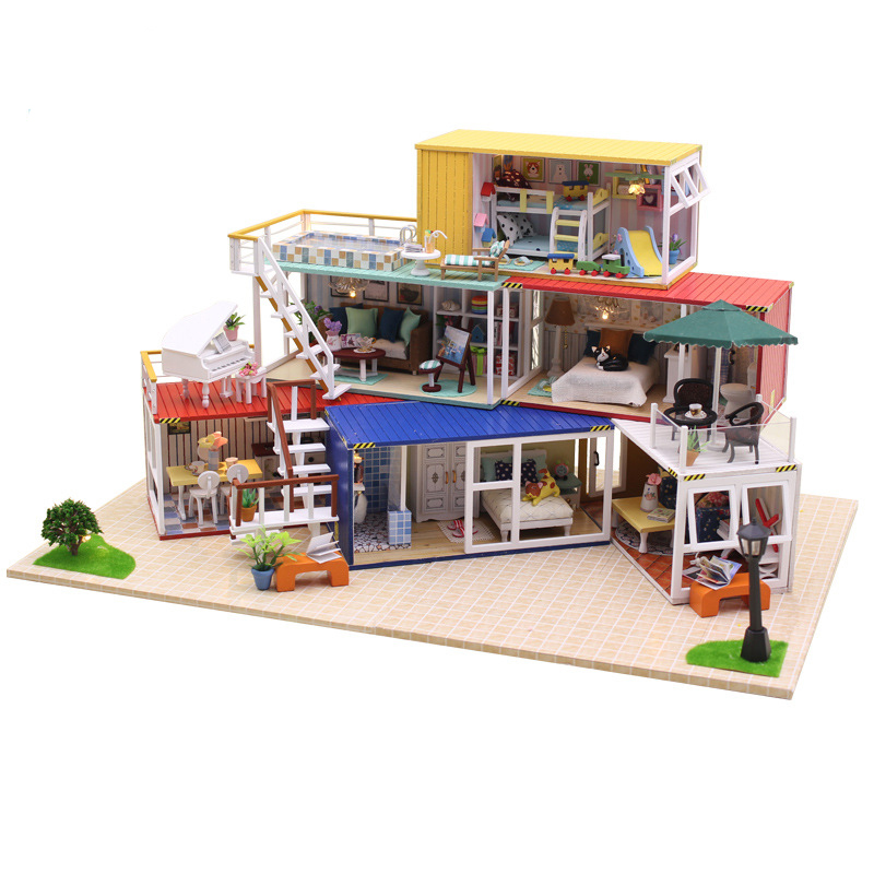 DIY DollHouse Container Home Miniature With Furnitures Wooden Doll House Handmade Building Model Toy YOUR NAME Suit 13843 #EDIY DollHouse Container Home Miniature With Furnitures Wooden Doll House Handmade Building Model Toy YOUR NAME Suit 13843 #E