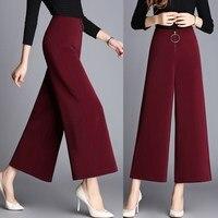 En najaar hoge taille culottes broek winter mode brede been bigfoot wijde been enkellange broek