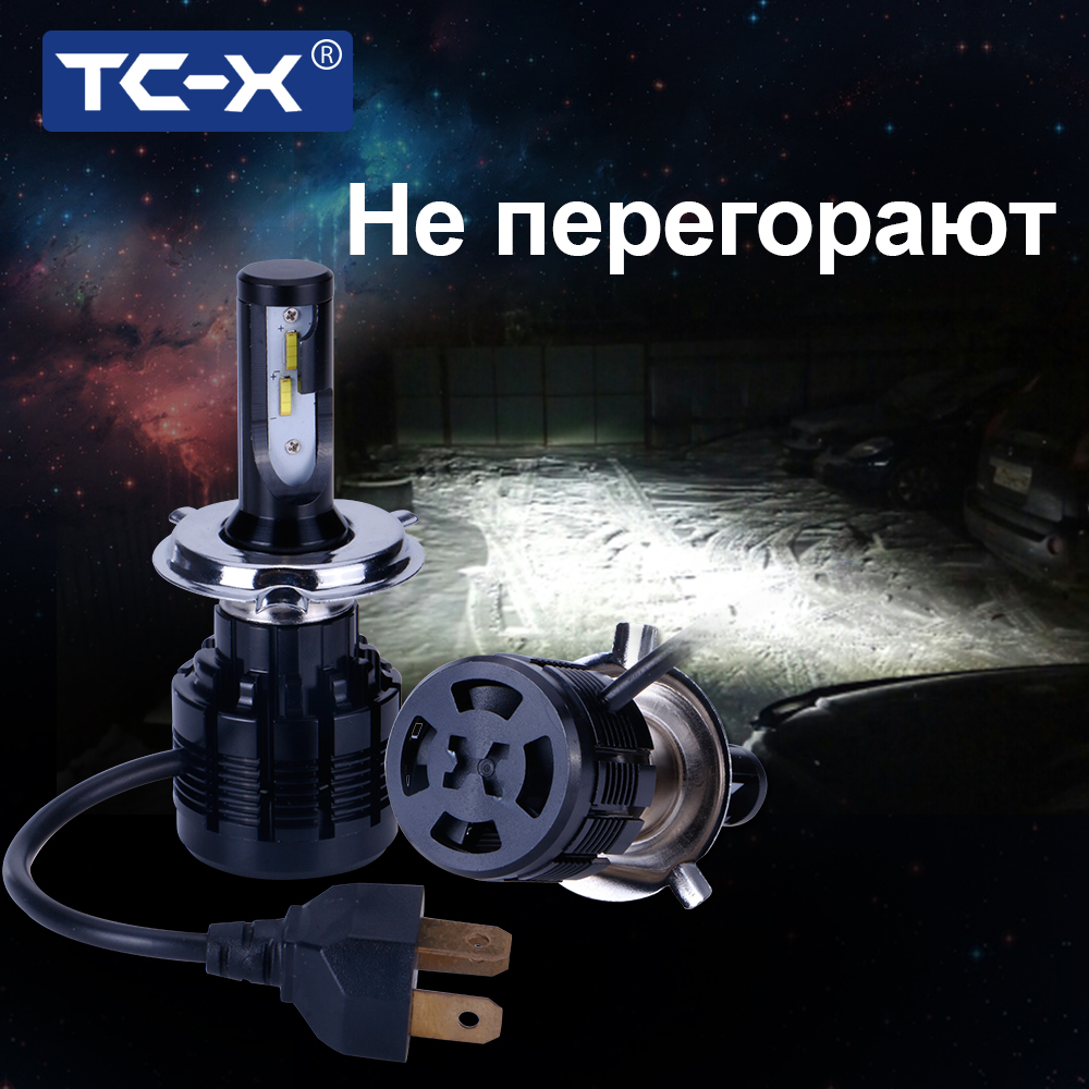 TC-X 2 Pieces H7 Led Bulb 7200Lm Headlights H1 H8/H11 HB3/9005 HB4/9006 H4 H27/ 880 Fog Lamp Car Headlight White 12V Automobiles