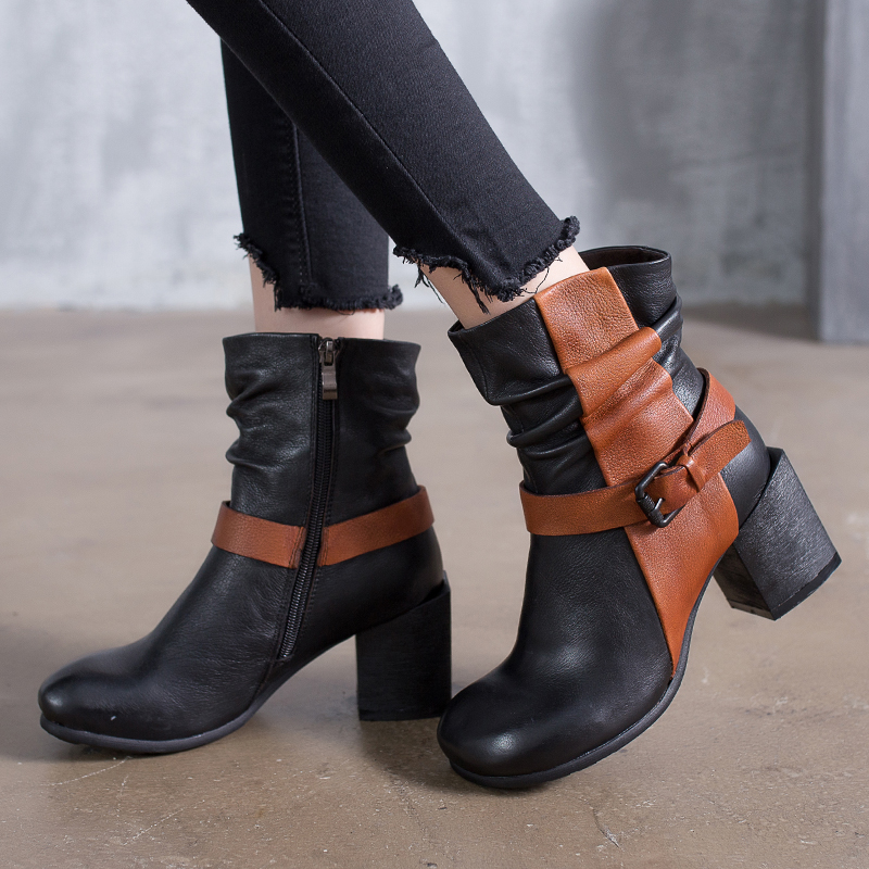 2018 VALLU Mixed Color Women Shoes Ankle Boots Genuine Leather Round Toes High Heels Buckle Pleated Handmade Ladies Boots stylish women s solid color pleated culotte