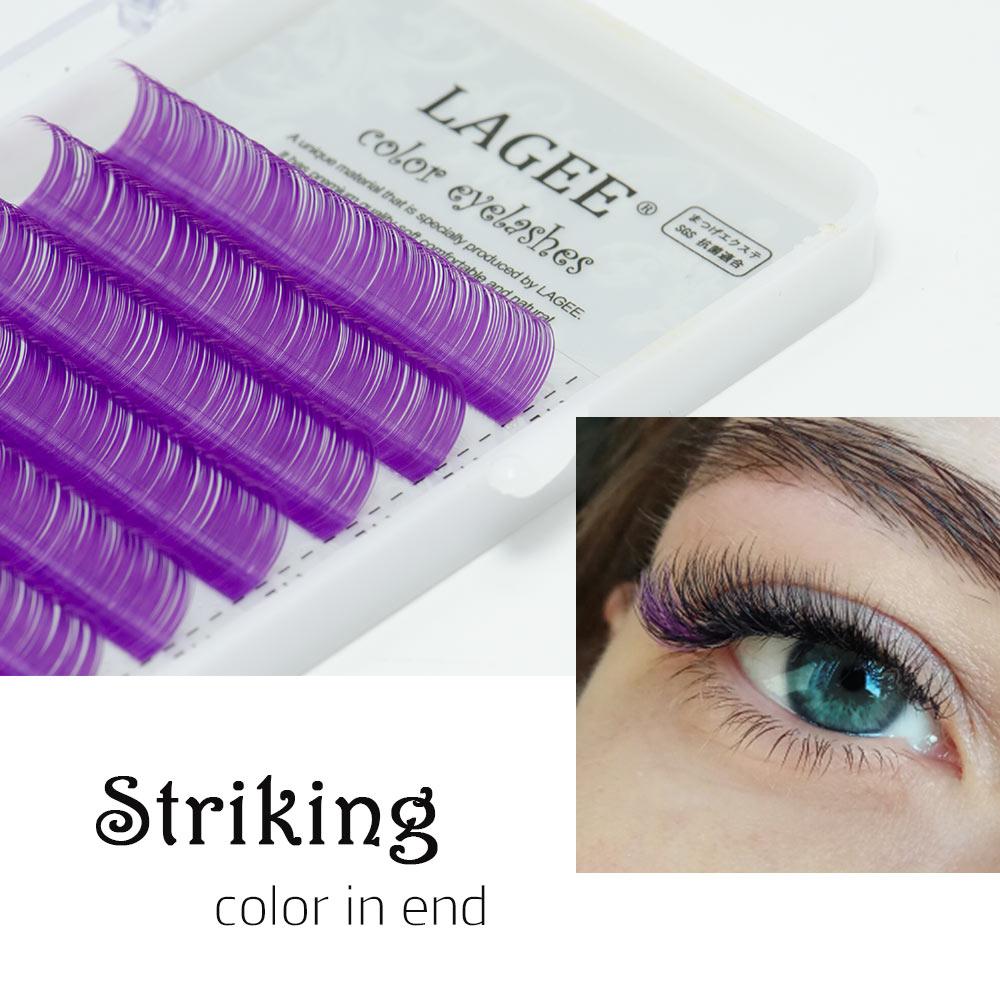 Image 5 - LAGEE Eyelash Extension Purple Blue brown Color Individual Eyelashes Premium Mink Soft eyelashes for building nagaraku line-in False Eyelashes from Beauty & Health