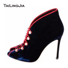 Blue Velvet Peep Toe High Heel Booties Ankle Boots For Women 2017 Open Toe Boots Slip On Women Shoes Black Velvet Open Toe Pumps