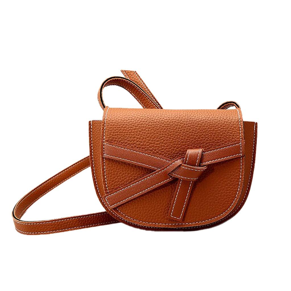 Women\'S Summer Saddled With Bow Pu Leather Messenger Bag Versatile Simple Shoulder Bag Crossbody Bag New