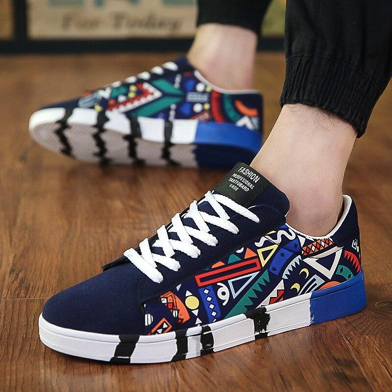 Men Casual Canvas Shoes Fashion Print Sneakers Summer Trainers Leisure Shoes Men's Flats Slip Shoes Chaussures pour hommes 4