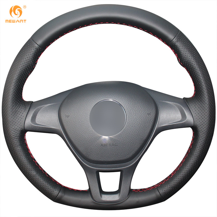 MEWANT Black Genuine Leather Car Steering Wheel Cover for Volkswagen VW Golf 7 Mk7 New Polo 2014 2015 2016 2017 special hand stitched black leather steering wheel cover for vw golf 7 polo 2014 2015