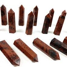 Natural red obsidian quartz crystal point wand obelisk reiki healing energy gemstone for home decora