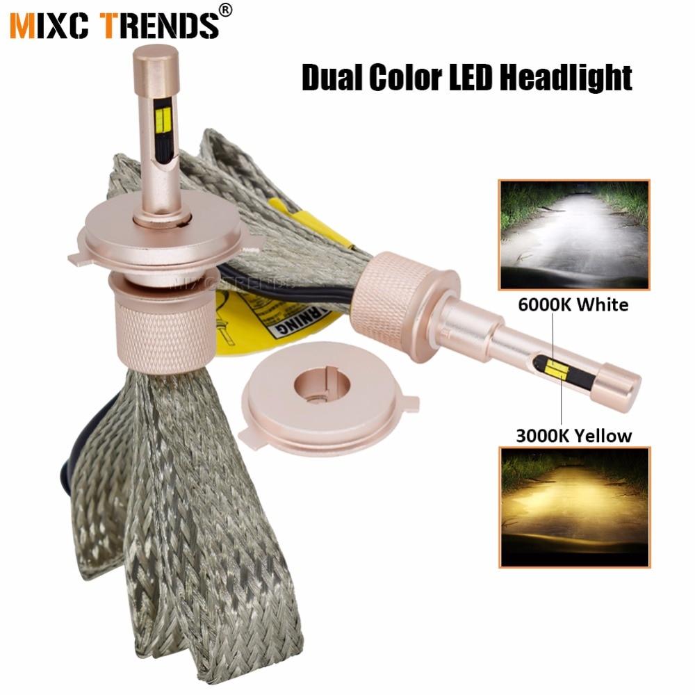 Dual Color LEDs H7 H4 Led Car Headlight Bulbs H1 H11 H3 HB4 H8 HB3 9005