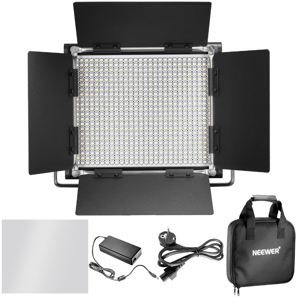 Neewer 3200 5600K Bi color Dimmable CRI 95 660 LED Light U Bracket Barndoor for Studio