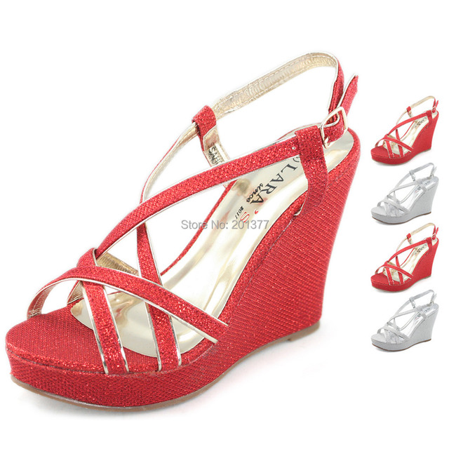 dca01b2df082 LARA s glitter wedding shoes for women strappy slingback high heel wedge  sandals silver red summer ladies shoe woman sandel new