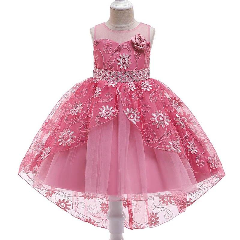 Trailing Flower Dress For Girls  Children's Party Dress Girl First Communion Dress Kids Wedding Prom Clothing Baby Costume T5117