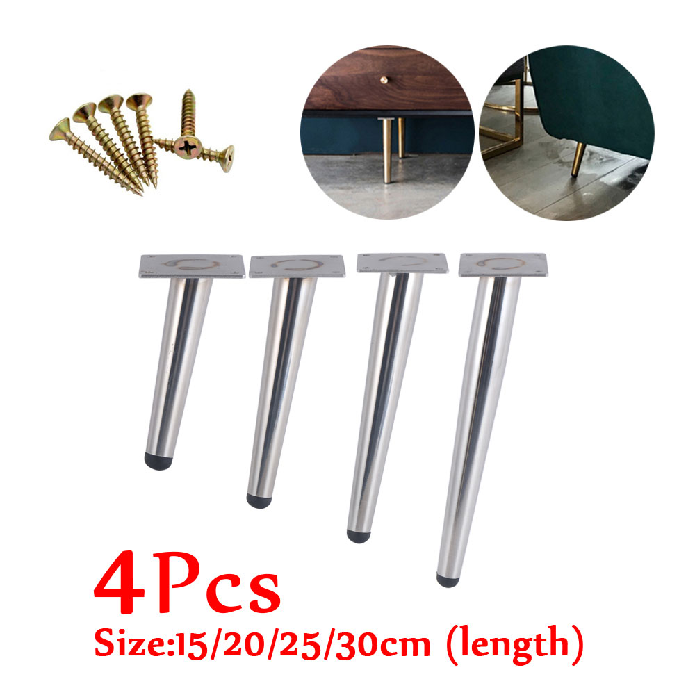 4Pcs Stainless Furniture Table Legs Load 900KG TV Cabinet Foot Sofa Leg Hardware Cabinet Feet 25CM Silver Tapered Leg