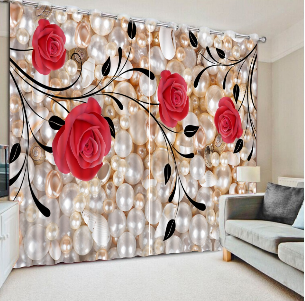 Home Bedroom Decoration Custom Curtains Pearl Roses