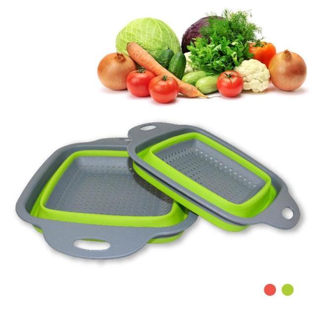 1pc Silicone Drain Basket Folding Washing Baskets Wash Fruit Home Kitchen  Supplies Eco Friendly Vegetable