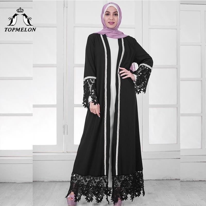 Robe islamique à franges TOPMELON 2018 nouveau Kimono en dentelle pour femmes caftan marocain vêtements en dinde noir blanc Abaya ouvert