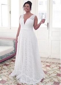 Image 3 - แฟชั่นอัญมณีลูกไม้คอ A Line PLUS ขนาดชุดแต่งงาน Bowknot ลูกไม้สีขาว 26W ชุดเจ้าสาว