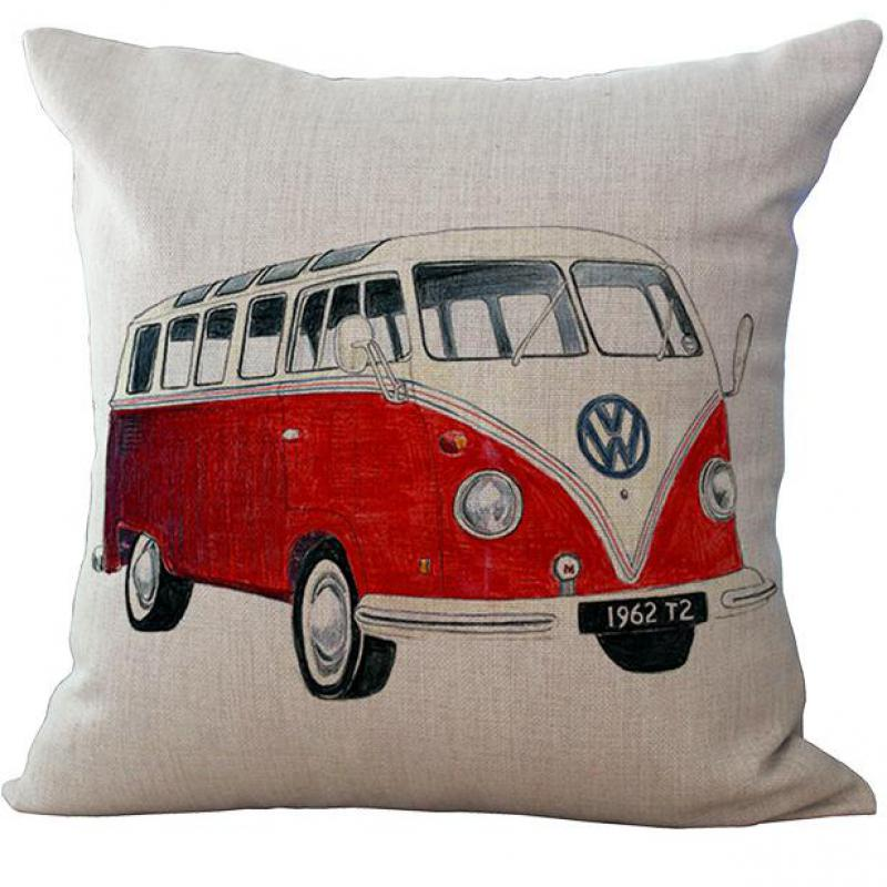 Vintage Car Paris Bus Taxi Pattern Linen Throw Cushion Cover Pillow Case Square 45*45 Cm Free Shipping