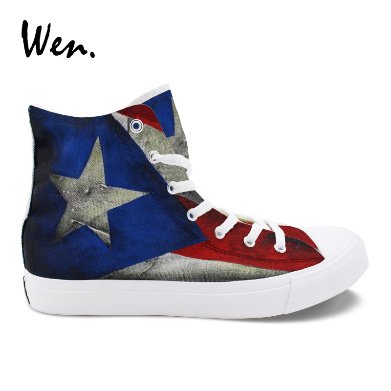 Wen Puerto Rico Flag Hand Painted Vulcanize Shoes Mens Sneakers Canvas Graffiti Painting Women Casual Plimsolls Espadrilles Flat men women converse puerto rico flag hand painted artwork high top canvas shoes unique sneakers
