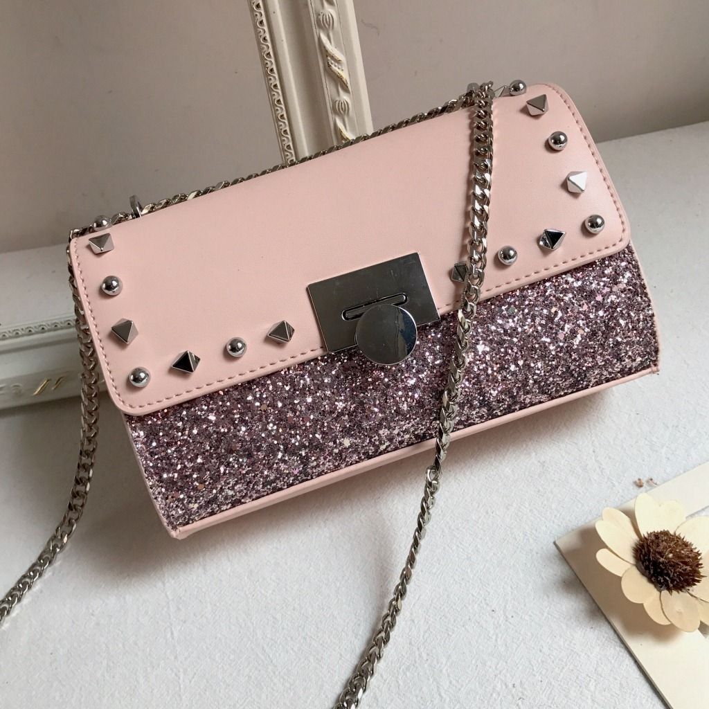 2018 Fashion Genuine Leather Handbags Women Bags Designer Chain Sequin Small Crossbody Bags for Women Messenger Shoulder Bag famous brand handbags women shoulder bag designer chain leather bag small crossbody bags for women messenger bags