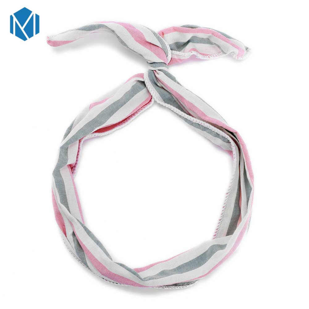 MSM 1 шт. милые полосатые заячьи кроличьи уши головная повязка головные уборы с бабочкой макияж Йога повязка для волос металлический провод шарф для волос аксессуары