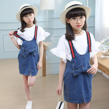 2019 New Girls Denim dress set Summer Children Clothing Casual Kids Suspender + shirt 2 pcs Jeans for 5 6 8Y TTX66