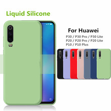 P30 PRO Liquid Silicone Case for huawei P20 Lite Pro P10 pro Soft Candy Cover Protective Microfiber Insided