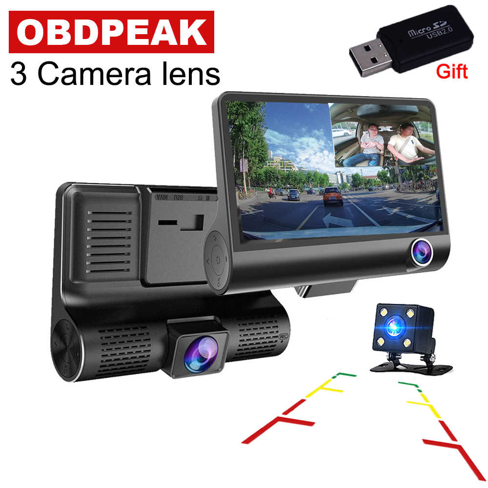 Car DVR 4.0 Inch 3 Cameras Lens Dash Camera Dual Lens With Rear View Video Recorder Auto Registrator Dvrs 3 Way Dash Cam