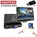 Автомобильный видеорегистратор 4,0 дюйма с 3 объективами s, двойной объектив с видеорегистратором заднего вида, Автомобильный регистратор, в...